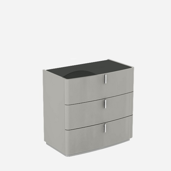 Norman Black Glass Top Dresser Chest In Cashmere High Gloss