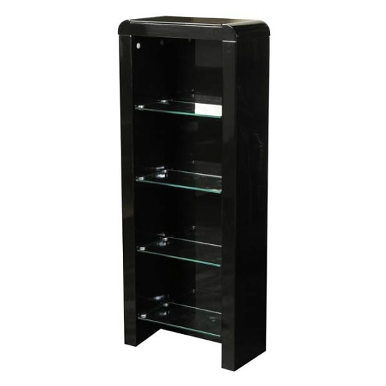 Norset CD DVD Storage Unit In Black Gloss With 4 Glass Shelf