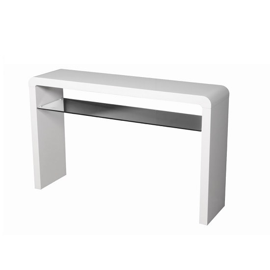 Norset Large Console Table In White Gloss With 1 Glass Shelf