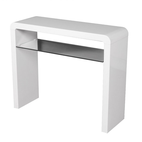 Norset Medium Console Table In White Gloss With 1 Glass Shelf
