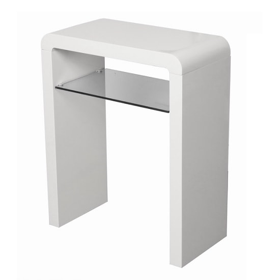 Norset Small Console Table In White Gloss With 1 Glass