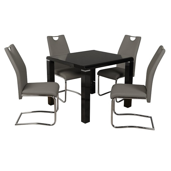 Product photograph showing Norset Dining Set In Black With Four Clare Grey Dining Chairs