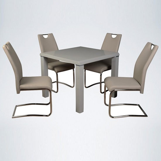Norset Dining Set In Grey With Four Clare Khaki Dining Chairs