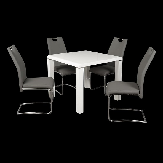 Norset Dining Set In White With Four Clare Grey Dining Chairs