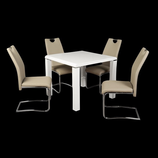 Norset Dining Set In White With Four Clare Khaki Dining Chairs