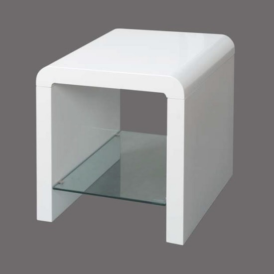 Norset Modern End Table Square In White Gloss