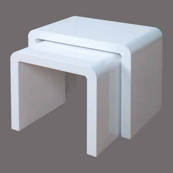 Norset Modern Set of 2 Nesting Tables In White Gloss