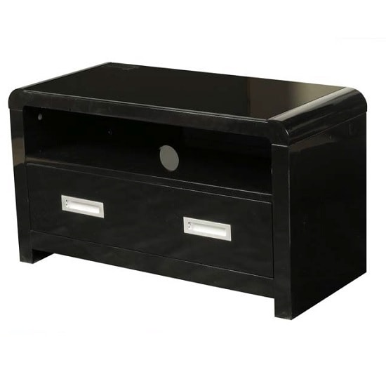 Norset Modern TV Stand Rectangular In Black Gloss With 1 Drawer