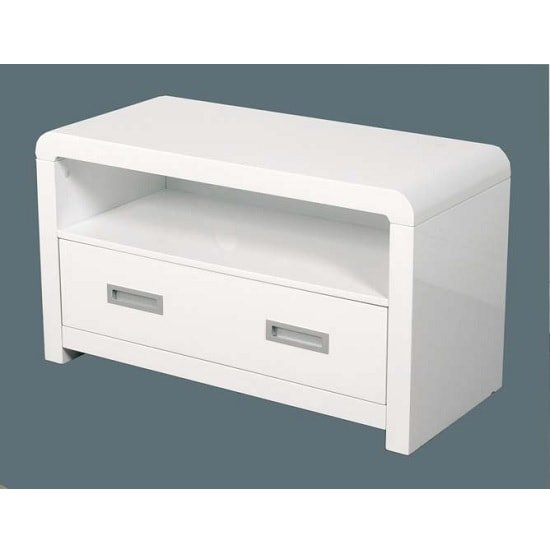 Norset Modern TV Stand Rectangular In White Gloss With 1 Drawer