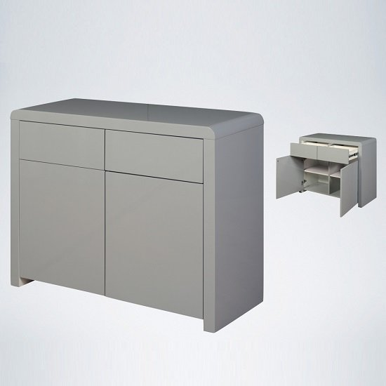Norset Compact Sideboard In Grey Gloss With 2 Doors