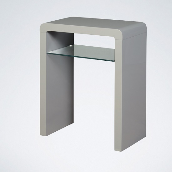 Norset small console table in grey gloss with 1 glass shelf for Small console table with shelf