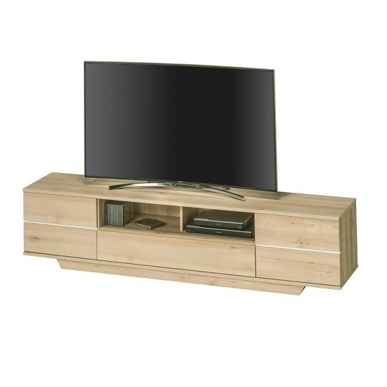Norstone Wide LCD TV Stand In Beech With 5 Drawers