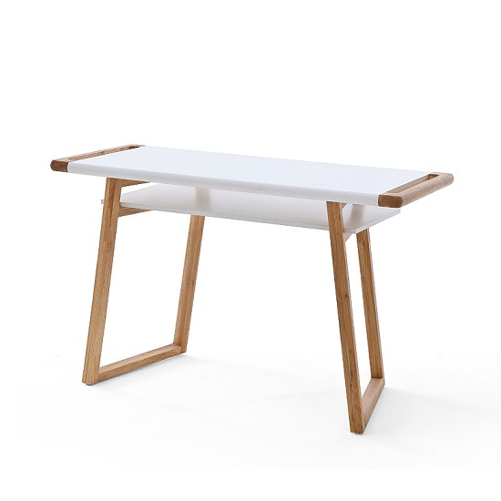 Nortis Computer Desk Rectangular In White And Oak With A Shelf_2