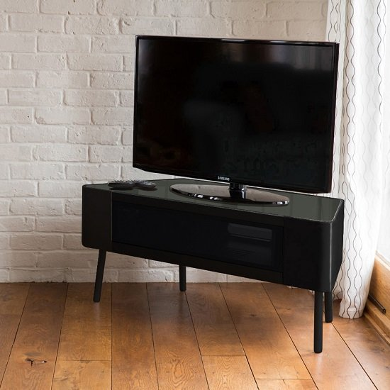 Norvik Tv Stand In Black High Gloss With Glass Door 29700
