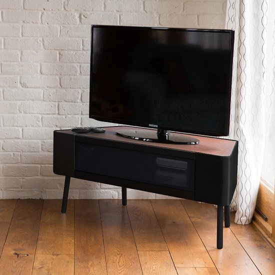 Norvik Corner TV Stand In Walnut And Black Gloss With Glass Door