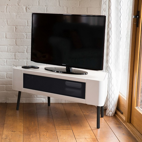 norvik tv stand in white high gloss with glass door 29701. Black Bedroom Furniture Sets. Home Design Ideas