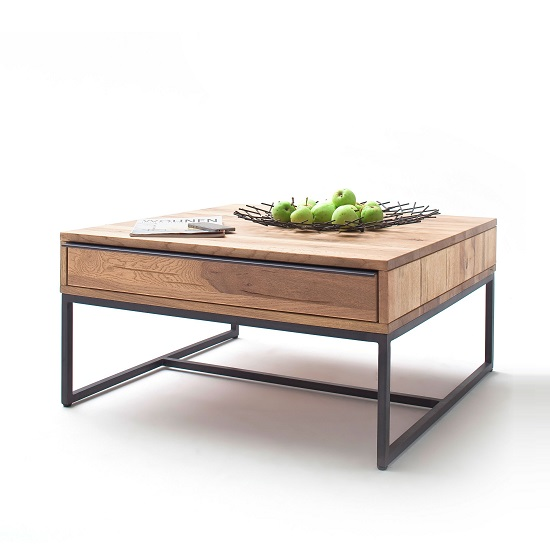 Norwich Wooden Coffee Table Square In Wild Oak With 1 Drawer
