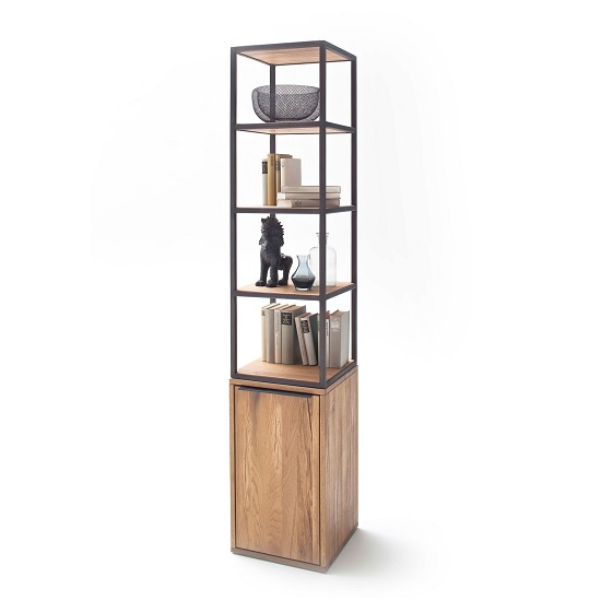 Norwich Wooden Shelving Unit In Wild Oak With 1 Door