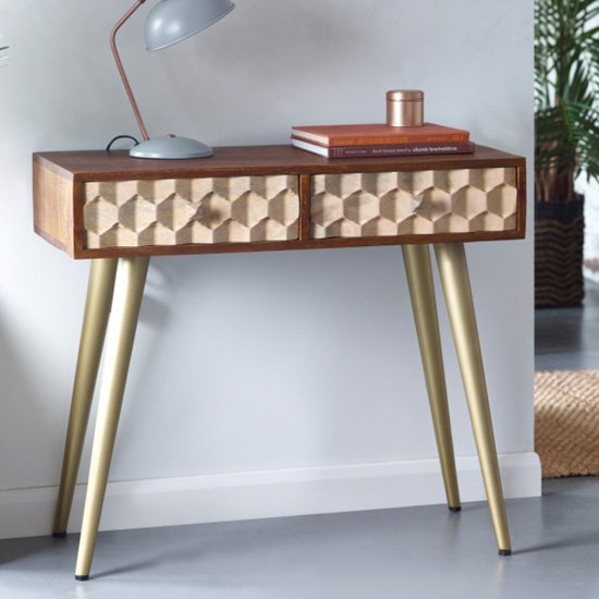 Nosid Wooden Console Table In Dark Walnut With 2 Drawers