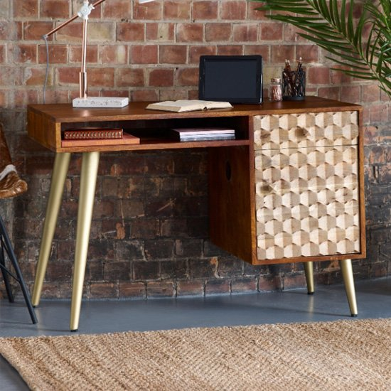 Nosid Wooden Laptop Desk In Dark Walnut With 1 Door 1 Drawer