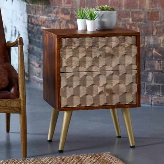 Nosid Wooden Side Table In Dark Walnut With 2 Drawers