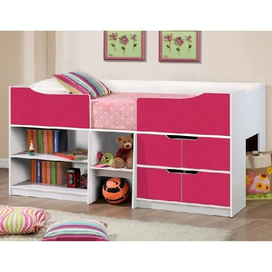 Nottingham Children Cabin Bed In White And Pink