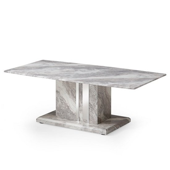 Nouvaro Coffee Table In Grey Paper Marble Top With Wooden Base