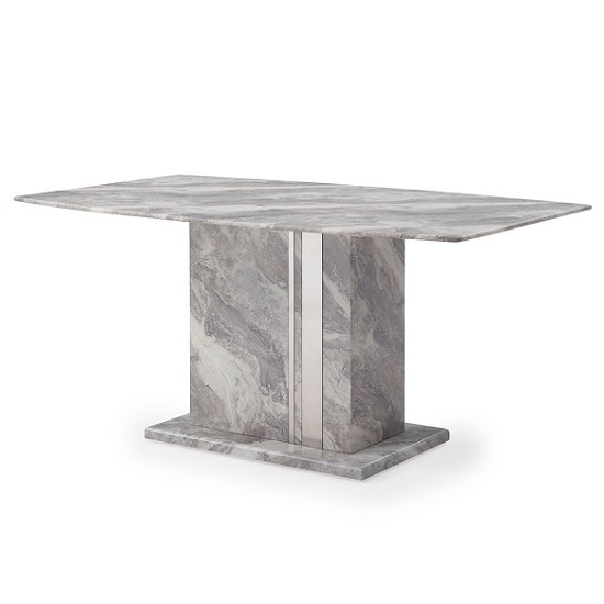 Nouvaro Dining Table In Grey Paper Marble Top With Wooden Base
