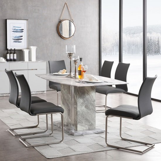 Nouvaro Marble Top Dining Table In Grey Paper With 4 Chairs