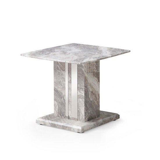 Nouvaro End Table In Grey Paper Marble Top With Wooden Base