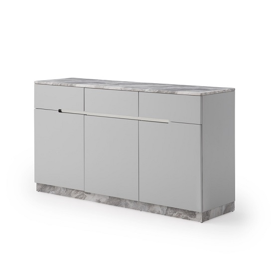 Nouvaro Marble Top Sideboard In Grey Paper With Wooden Base