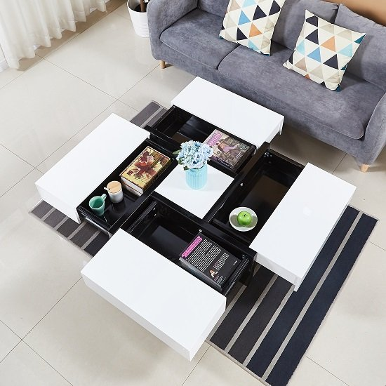 Elisa Coffee Table Square In High Gloss White With Storage: Nova Extendable High Gloss Coffee Table In White With