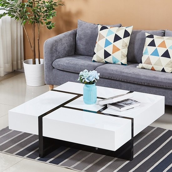 View Nova storage coffee table square in white high gloss