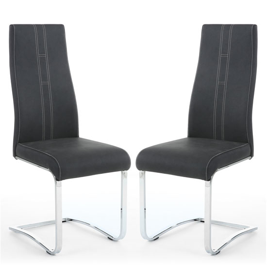 Nova Dark Grey Leather Cantilever Dining Chair In A Pair