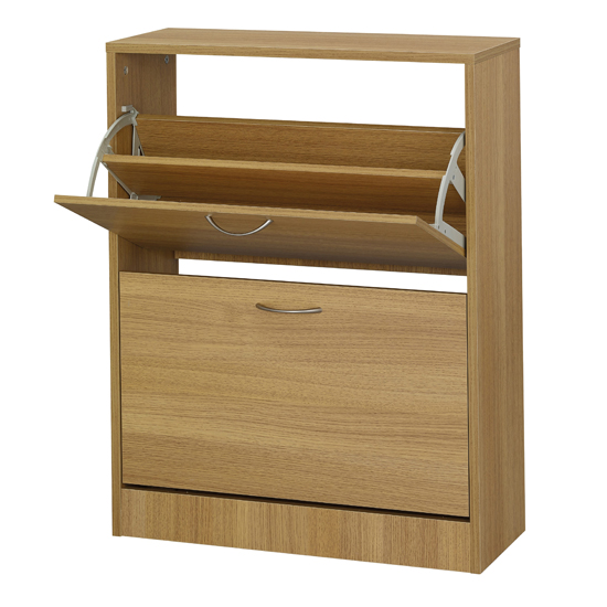 Nova Wooden Shoe Storage Cabinet In Oak With 2 Doors_1