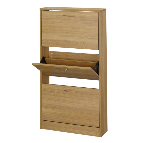 Nova Wooden Shoe Storage Cabinet In Oak With 3 Doors_1