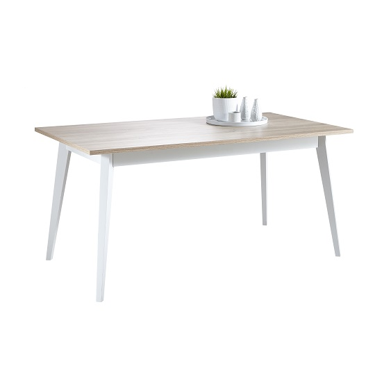 Nova Wooden Dining Table In Brushed Oak And Pearl White
