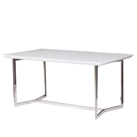 Novara Glass Dining Table In White Gloss With Chrome Frame