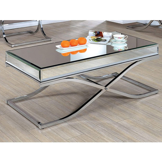 Nove Mirrored Wooden Coffee Table With Silver Steel Legs