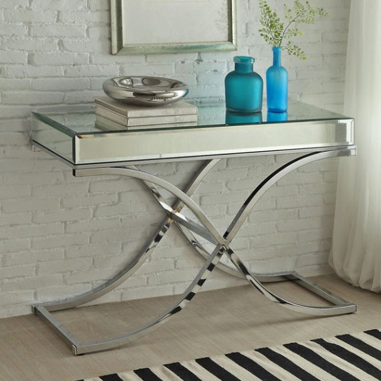 View Nove mirrored wooden console table in silver