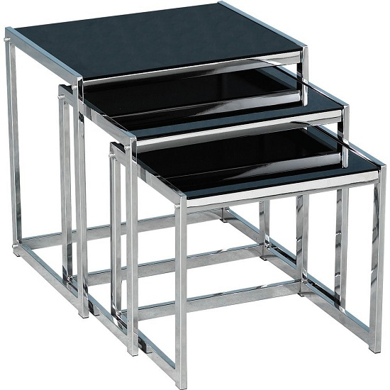 Nova Nest Of tables In Black Glass Top With Chrome Frame