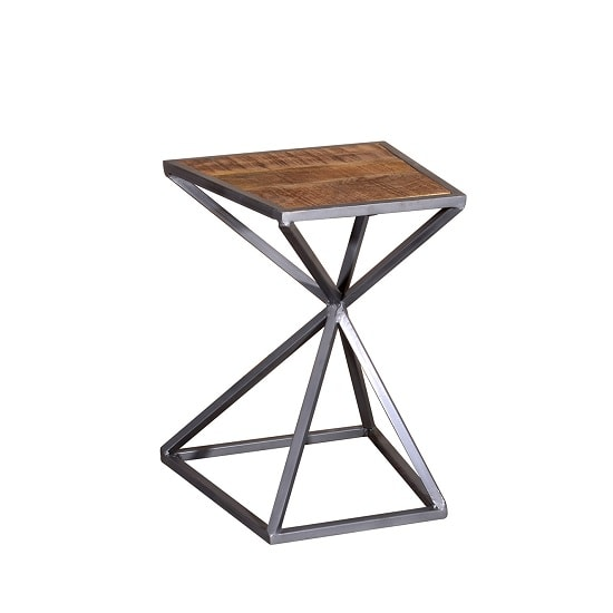 Novella Wooden Side Table In Acacia And Metal Frame