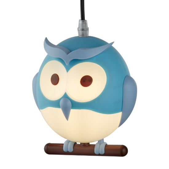 Novelty Childrens Owl Pendant In Blue