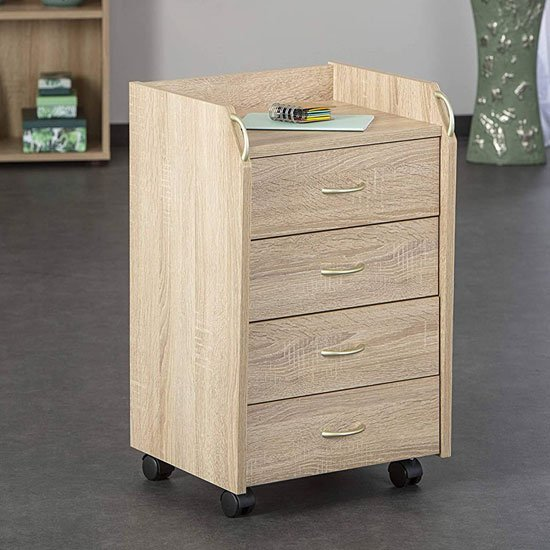 Novi Office Pedestal Cabinet In Sonoma Oak With 4 Drawers