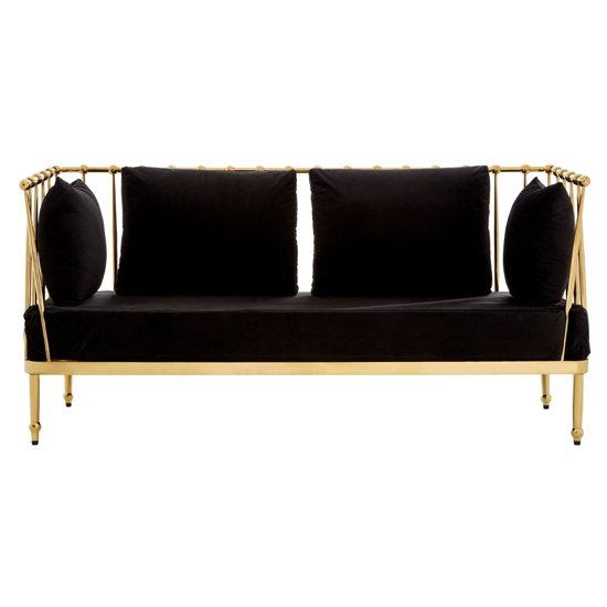 Kurhah 2 Seater Sofa In Black With Gold Finish Tapered Arms
