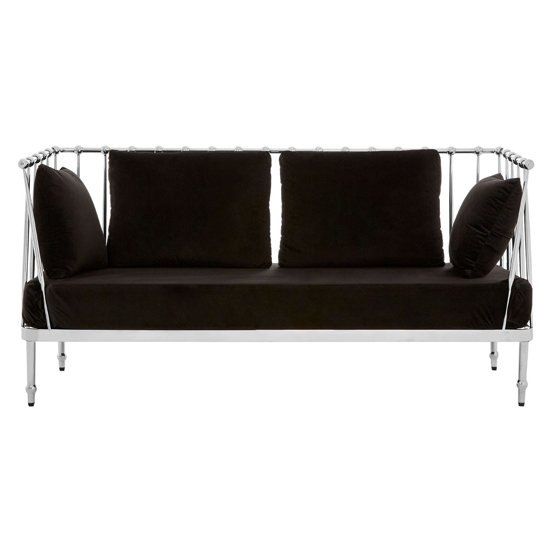 Kurhah 2 Seater Sofa In Black With Silver Finish Tapered Arms