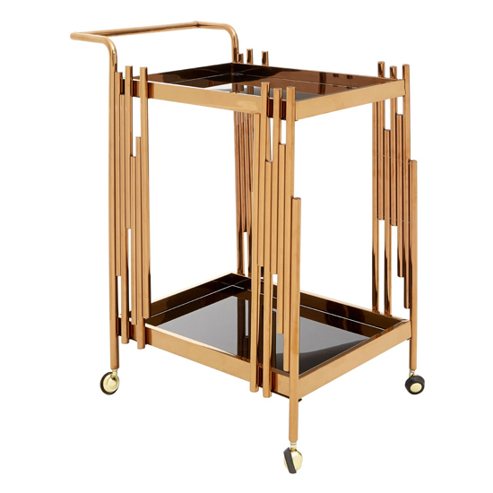 Kurhah 2 Tier Bar Trolley With Rose Gold Frame