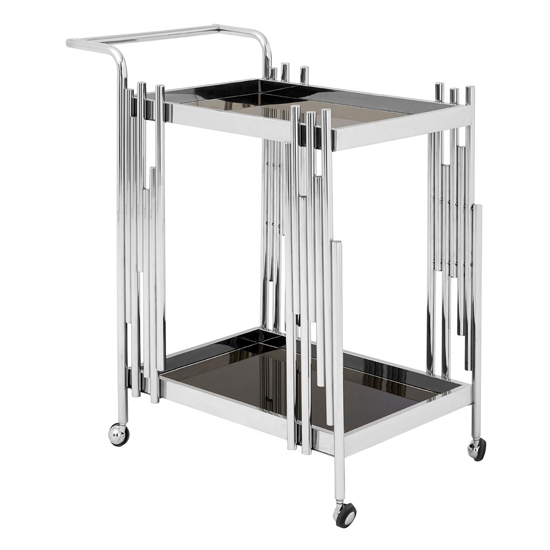 Kurhah 2 Tier Bar Trolley With Silver Finish Frame