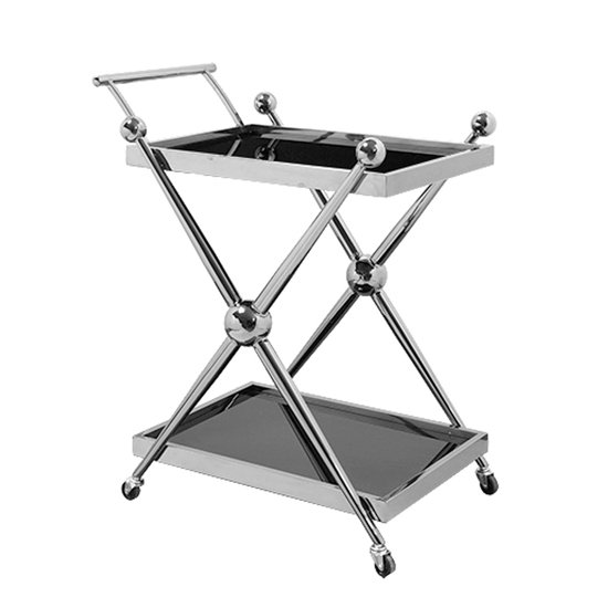 Kurhah 2 Tier Cross Design Bar Trolley In Silver