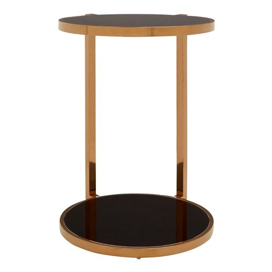 Kurhah 2 Tier Side Table In Rose Gold With Black Glass Top